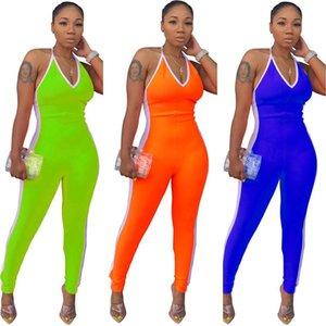 Color Patchwork Women Jumpsuits Fashion Halter Backless V Neck Skinny Women Rompers Summer Women Designer Clothes