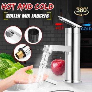 1 PC Krom Bakır Su Musluk Tek Kolu Sıcak Soğuk Su Mix Musluklar Lavabo Lavabo Musluk Home For Mutfak Banyo