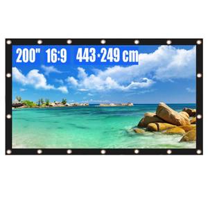 Projektor-Schirm 200-Zoll-16: 9 HD faltbare Knitter Tragbare Projection Filme Bildschirm für Heimkino-Büro Outdoor Indoor