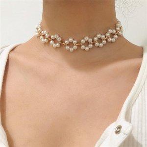 Luokey Geometric Pearl Choker Collar Women Wedding Anniversary Elegant Jewelry Beads Chain Flower Chockers Necklaces Wholesale