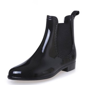 New Rubber Boots for Women PVC Ankle Rain Boots Waterproof Trendy Jelly Women Boot Elastic Band Rainy Shoes Woman