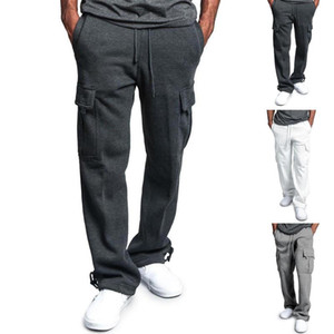 Men Outdoor Gym Pants Elastic Sweatpants Casual Men Solid Color Multi Pockets Trousers Drawstring Loose Sports Straight Pants