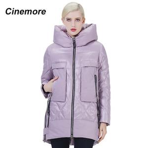 Cinemore 2020 NUEVA LLEGADA Femenino Invierno abajo Jacket Personalidad Lila Color Parka Mujer Pocket Cálido Longitud regular 2025
