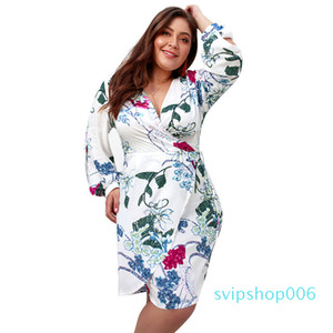 New 2019 Spring Autumn Long Sleeve Dress Sexy V Neck A Line Plus Size Dress for Fat Women Lady Fashion Printing Casual Dress