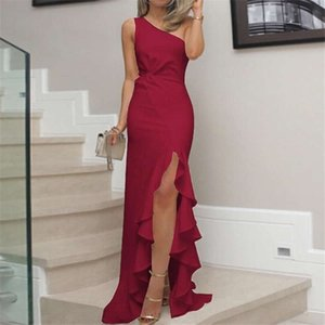 2020 New hot sale European and American split evening dress with ruffled flounce women's casual dress elegant apprel Size S-3XL