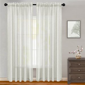 Linen Semi Sheer Curtain Super Soft Rod Pocket Sheer Privacy Add for Living Room Premium Pure Textured Linen Curtain Panels for Bedroom