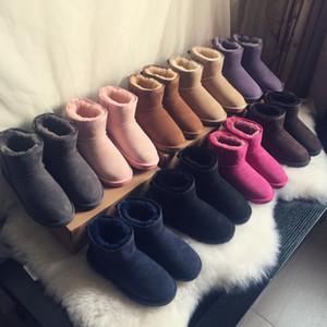 Горячая классическая мини короткие туфли Бейли лук высокая кнопка WGG триплет Австралия женские женские ботинки зима снежные ботинки меховые австралийские пушистые пинетки