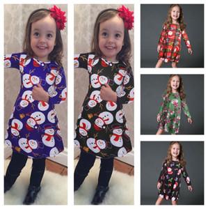 3-8 Years Baby Girs Dress 2020 Christmas Skirt Santa Claus Snowman Penguin Elk Bear Cute Print Dresses Xmas Autumn Winter Clothing E101903