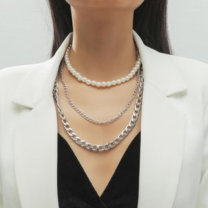 3Pcs Set Multi Layered White Color Imitation Pearl Choker Necklace Thick Curb Cuban Collar NEW Necklace for Women Jewelry