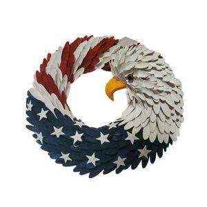 10 15inch Handicraft Paper Eagle National Flag Design Artificial Garland Wreath Door Hanging Pendent Ornament Holiday Decor