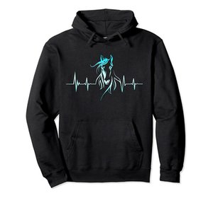 Horse Heartbeat Horse Lovers Pullover Hoodie Unisex Size S-5XL with Color Black Grey Navy Royal Blue Dark Heather