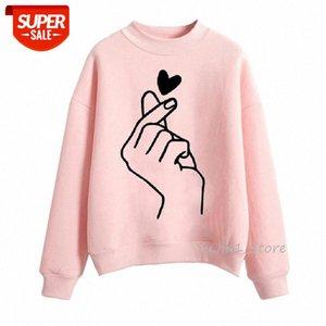 Pink Love Heart Finger Vogue Sudadera Mujeres Oversized Harajuku Hoodie Invierno Otoño Velvet Grossening Ropa Streetwear # WX5J
