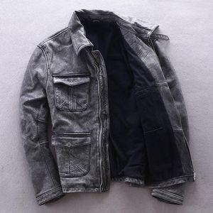 2020 Vintage Grey Men Biker's Jacket Plus Size XXXXL Genuine Thick Cowhide Spring Natural Leather Coat FREE SHIPPING