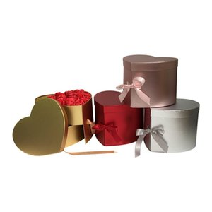 Kalp Şeklinde Çift Katmanlı Döndür Çiçekli Çikolata Hediye Kutusu DIY Düğün Dekor Sevgililer Günü Çiçek Ambalaj Kılıfı