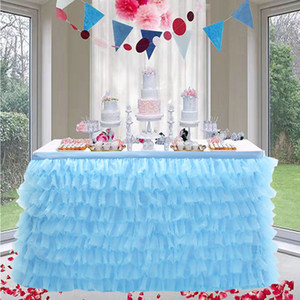Double Layers Table Skirt for Birthday Halloween Wedding Decoration Baby Shower Decorations Table Tulle Skirt 201007