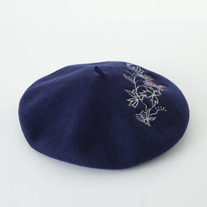Korean flower embroidery Wool Beret painter Hat Lady autumn and winter embroidery bud cap wool hat