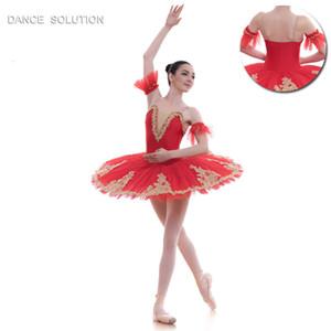 Spanish Red Pre-professional Ballet Tutu Girl & Women Stage Ballet Costume Ballerina Tutu Gold Applique