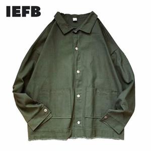 IEFB / Männerkleidung lose beiläufige Dichtigkeit überprüfen feste Farbe loses Hemd 2020 Herbst neue Quaste hem Armee-Grün Arbeitskleidung Hemd Y508