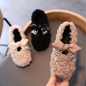 Children's fur shoes 2020 winter new girls Children bow princess shoes little girls sheep curl fur baby flats shoes size 26-35