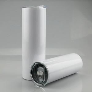 Blank 20 oz Sublimation droite Gobelets en acier inoxydable Blank blanc Coupe Skinny avec couvercle en plastique et paille TRANSPORT MARITIME CCA12593
