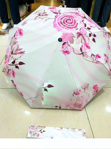 Classic CC Umbrella 3 Fold Full-automatic Flower Umbrella&Parasol with Gift Box for VIP Client