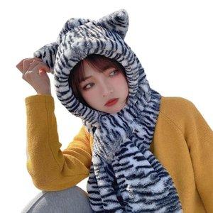 Mulheres Inverno 2 em 1 Cachecol Hooded Beanie Beanie Zebra-listrado Urso Orelhas Earlap Cap
