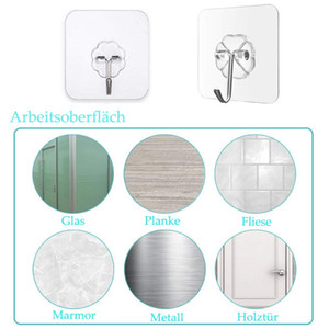 Transparent Wall Hooks Waterproof Oilproof Self Adhesive Hooks Reusable Seamless Hanging Hook For Kitchen Bathroom OWC4408