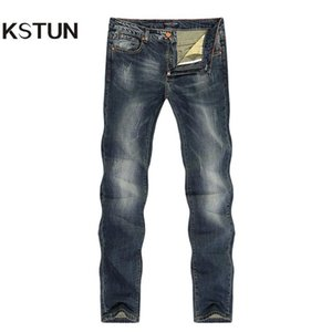 KSTUN Jeans Men Stretch Retro Blue Slim Straight Vintage Spring and Summer Denm Pants Jeans Man Full Length Trousers Big Size 40