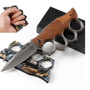 Muti-function Folding Brass knuckles shape outdoor camping self-defense tool stainless steel Knife NF005