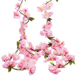 WSFS Hot 2 Pack Artificial Cherry Blossom Garland,Hanging Vine Fake Flowers Silk Garland,Home Wedding Party Decor,Pink