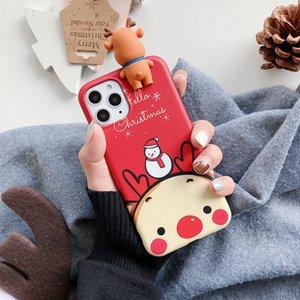 Natal IPhone12pro Caso Xsmas Snowman Elk Deitado 6p Casal Phone Case 7plus para IPhone11Pro / 12 Xr Xs Case-