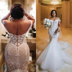 Chic dentelle robes de mariage de l'épaule africaine sirène Robes de mariée en dentelle Tulle Fermeture à glissière Retour Taille longue Dubaï plus de Novia vestido