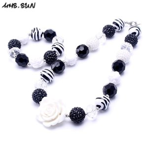 MHS.SUN Fashion White Flower Chunky Beads Necklace Bracelets Set For Child Kids Girls Chunky Jewelry Set Party Gifts New 201009