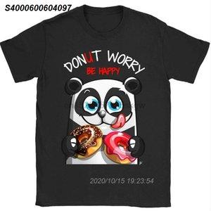 Donut Endişe Mutlu Donuts Erkek Tişört% 100 Pamuk Marka Giyim Plus Size 1292210 ile Panda Gülen Be