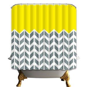Modern Simple Style Pure Yellow Above Gray Wave Stripe Below Bathroom Curtains Waterproof and Mildew Proof With 12 Hooks