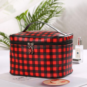 Plaid Cosmetic Bag PU Zipper Portable Storage Bags Women Large Capacity Makeup Organizer Fashion Travel Toiletry Kits ZYY459