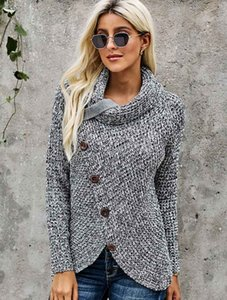 Turtle Neck Sweaters Women Autumn and Winter New Long-sleeved Hem Asymmetric Button-type Pullover Sweater Womens Fashion Tops Hot Sale