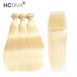 Brazilian Virgin Hair Bundles with Closures 613 Blonde Bundles with Frontal 10-30 inch Straight Human Hair 3 Bundles with 4*4 Closure HCDIVA