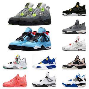 Jumpman 4 فون 4S الرجال أحذية كرة السلة الحريرالأردنهواءالرجعية النيون الشراع كوس رمادية سوداء خالصة المال لكمة رجل رياضة حذاء 36-47
