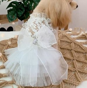 Free Shipping Handmade Dog Clothes Dog Dress White Lace Sexy See-Through Falbala Tutu Dot Tulle Skirt Cat Pet Party Evening Gown