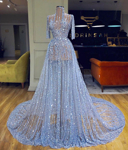 Glitter Blue Evening Dresses Bling Bling High Collar Long Sleeve Prom Gowns Illusion Sequins Beading Formal Runway Fashion Dress