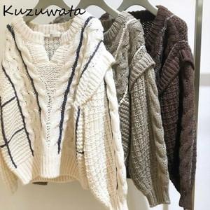 Kuzuwata con cuello en v de punto de dos piezas falsas de dos piezas suéteres con paneles torsos remiendo jerseys otoño invierno estilo japonés dulce abrigo