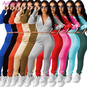 Adogirl 2020 New Women Velvet Two Piece Set Jogging Suit Zipper Long Sleeve Hooded Jacket Crop Top Pencil Pants Tracksuit