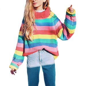 Sweet Style Colorido Striped Knit Pullover Moda Mulher Casual Sleeved Sweater