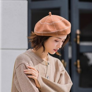 s-maqiao Hot Sale Warm Wool Winter Women Plaid Beret French Artist Beanie Hat Cap For Sweet Knit Hat Girl Gift Autumn Hats 201009