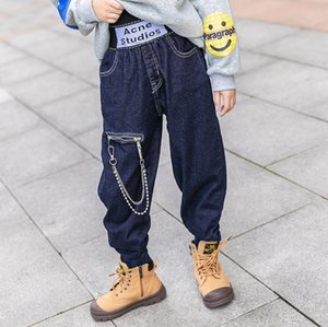 Fashion kids jeans children zipper chain buckle denim pants winter girls thicken warm casual jeans 4-15T A4598