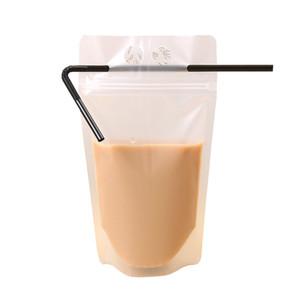 Temizle İçecek Torbalar Çanta Buzlu Fermuar Stand-up Plastik Içme Çantası Ile Saman Tutucu Reclosable Isı Geçirmez Suyu Kahve Sıvı FWA2429