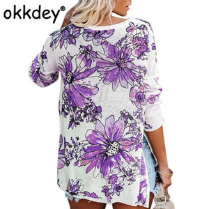 Okkdey mujeres floral de la moda de impresión de punto jersey de mujer otoño invierno de manga larga O-cuello de los géneros de punto suéter de gran tamaño Tops