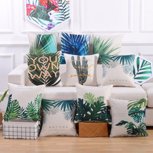 Nordic Cushion Decorative Pillow Cover Tropical Leaves Cactus Throw Pillows Case Green Geometric Cushions Cover For Sofa 45x45cm MXJo#