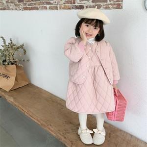 2020 Autumn New Arrival Girls Long Sleeve 2 Pieces Suit Coat+vest Dress Kids Cotton-patted Sets Kids Clothes X0923